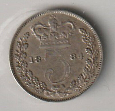 1884 UK - Great Britain - ICCS Graded 3-Pence (Threepence) Coin - VF-30