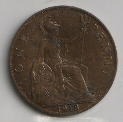 1918 UK - Great Britain - ICCS Graded Penny Coin - EF-40