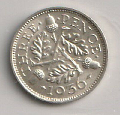 1936 UK - Great Britain - ICCS Graded 3-Pence (Threepence) Coin - MS-64