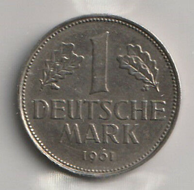 1961 D West Germany ICCS Graded 1 Mark Coin - EF-40