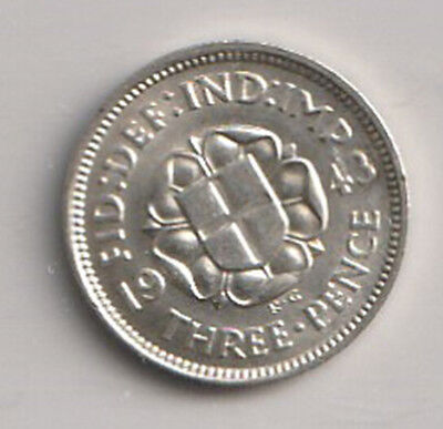 1943 UK - Great Britain - ICCS Graded 3-Pence (Threepence) Coin - MS-64