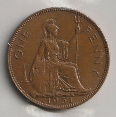 1951 UK - Great Britain - ICCS Graded Penny Coin - MS-62