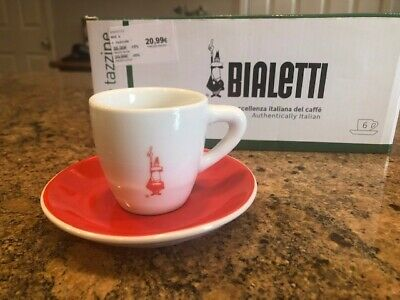 Bialetti NEW Set Of 6 Espresso Cups & Saucers Caffe Espresso Italy Coffee