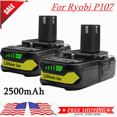 2× For Ryobi P107 18V 2.5Ah Lithium Ion Battery Replace P108 P105 P103 P102 MP A