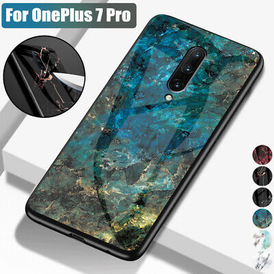 Marble Pattern Hybrid Tempered Glass Back Hard Case Cover For OnePlus 7 Pro 7