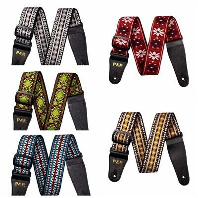 Retro Vintage Embroidery Hippie Jacquard Woven Acoustic Electric Guitar Strap