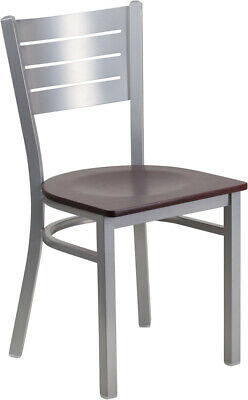 (10 PACK) Silver Slat Back Metal Restaurant Chair with Mahogany Wood Seat