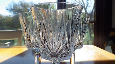 Crystal Wine Water Glasses Goblets cut pineapple design faceted stem 4 8oz stems