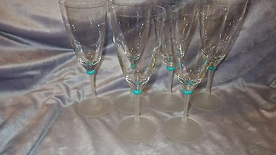 Crystal Water Goblets Elegant All Purpose Glasses Clear Bowl Frosted stem 6 13oz