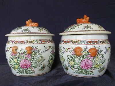 A Pair of Large and Rare Chinese Qing Dynasty Guang Xu Period Flower Jars