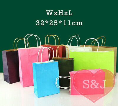 10x Colour Paper Bag 32x25x11cm Large Kraft Handle Carry Shopping Party Loot