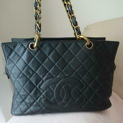 60169488594cfb CHANEL CC Chain Shoulder Tote Hand Bag Black Caviar Skin Leather Used