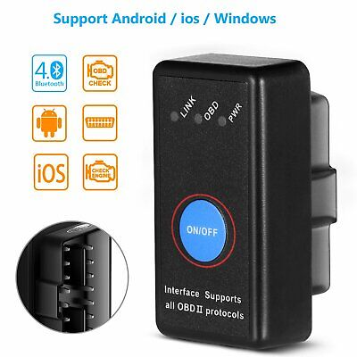 OBD2 Bluetooth Car Scanner OBDII ELM327 Scan Tool Torque Android IOS iPhone