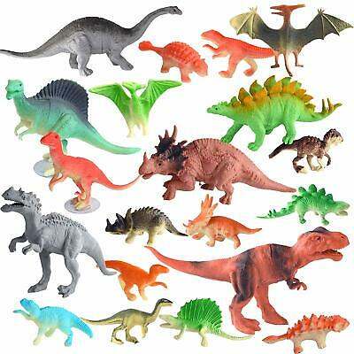 20Pcs Dinosaurs Toy Animals Jurassic Figures Kids Game Play Set T-Rex Plastic