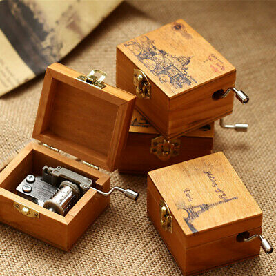 Vintage Tiny Wooden Wind Up Hand Cranked Engraved Music Box Melody Birthday Gift