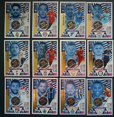 12 cards Man of the Match Champions League Match Attax 2018/19 Topps UK