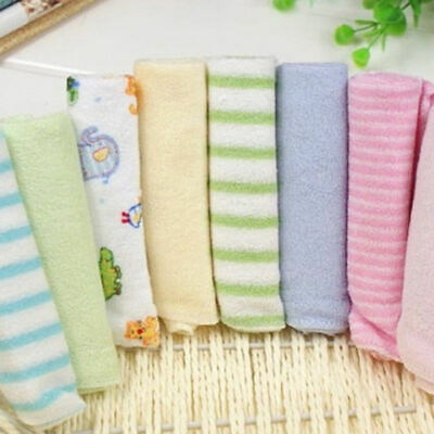 8 Pack Baby Cotton Square Muslin Burp Cloth Bib Comforter Nappy Wipe Cute~