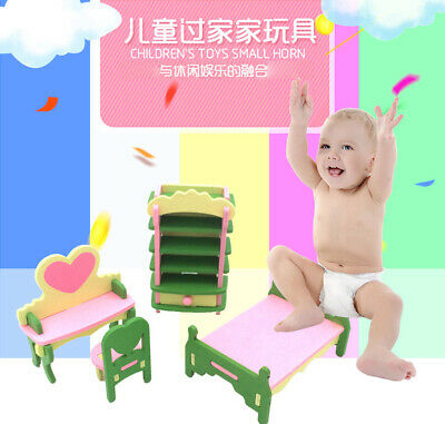 Kid Wooden Mini Bed Furniture Set Pretend Role Play Simulation House Set Fun Toy