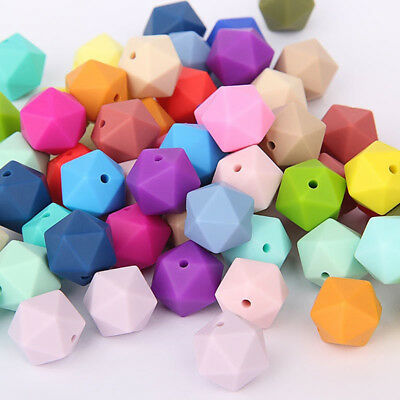 10 Pcs Loose Hexagon-Shaped Food Grade Silicone Beads for Baby Teething Necklace