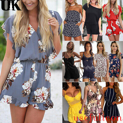 UK Womens Holiday Playsuit Romper Ladies Jumpsuit Summer Beach Shorts Size 10-16