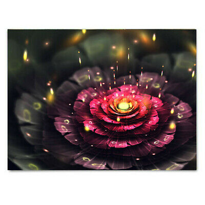 LED Luminous lotus Flower Lighted Canvas Print Art Painting Home Wall Decor CA