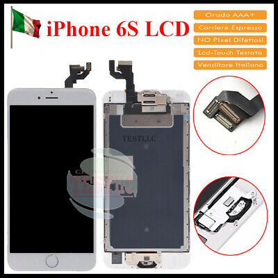 DISPLAY LCD Per iPhone6S ASSEMBLATO Fotocamera Tasto Home Altoparlante BLANCO