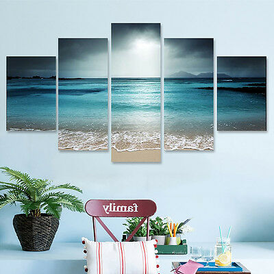 5Pcs Sunset Seaside Canvas Print Art Painting Home Decor Wall Picture  CA
