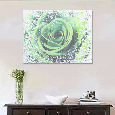 Modern Green Rose Flower Canvas Print Art Painting Picture Wall Decor  CA