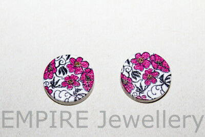 2 x Purple & Black Floral Wooden Laser Cut Flatback 16x16mm Cabochon Flower