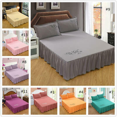 "45cm/18"" Drop Dust Ruffle Bed Skirt Fitted Sheet Bedspread Drop Full Queen King"