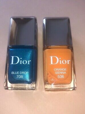 Dior Vernis Nail Polish 708 Blue Drop & 536 Orange Sienna - New Authentic