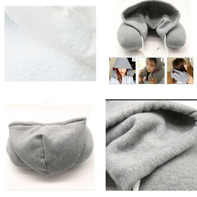 Hooded Pillow Travel Cushion Car Office Airplane Head Rest Neck Support U-Shaped