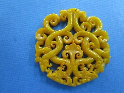 Chinese  Large Yellow/Brown Jade ?? Round Double Dragon Pendant / Charm