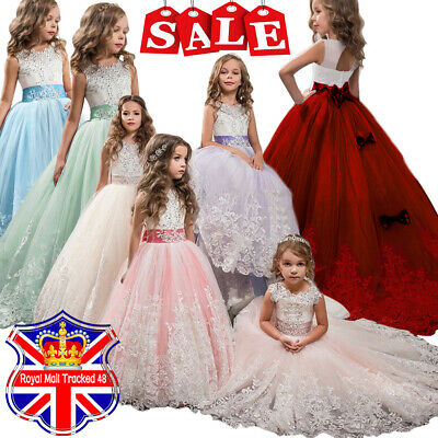 Girls Lace Bridesmaid Maxi Full Dresses Princess Party Lace Embroidery Kid Dress