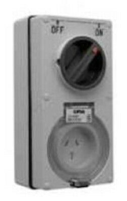 Clipsal 56-SERIES SWITCHED SOCKET 250V 3-Pin Flat, Vertical GREY- 10A Or 15A