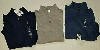 New Polo Ralph Lauren infant toddler boys 1/4 zip long sleeve shirt top pony