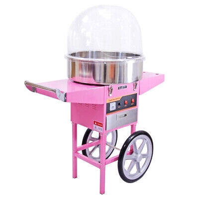 Candy Floss Machine Cotton Candy Maker Electric and Pink Cart & Acrylic Dome
