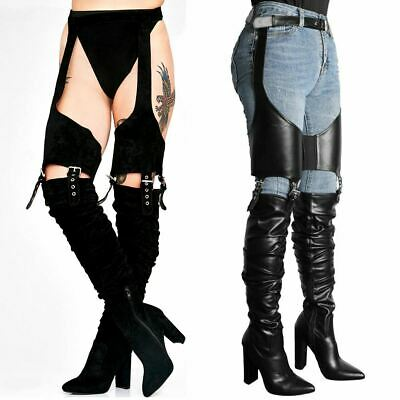 Womens Ladies Belt Thigh High Over The Knee Boots Sexy Stilleto Kinky Fetish Zip