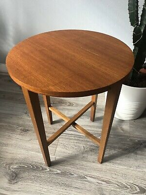 Mid Century G PLAN FOLDING TABLE Circular Wooden TEAK Side Table Plant Stand.