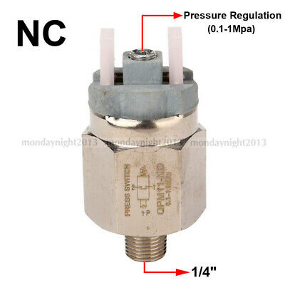 "Plastic+Stainless Steel 1/4"" Adjustable Diaphragm Pressure Controller NC Switch"