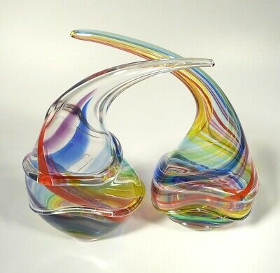 Pair Of Hand Blown Glass Sculptures, Dirwood, Red Blue Aqua Purple Yellow Green