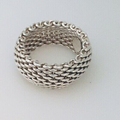 Size 7.5  Tiffany & Co Sterling Silver Somerset Mesh Weave Flexible Dome Ring