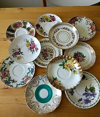 Mismatched Fine Bone China Saucers x 11 Tea Party Weddings Summer Fete Tea Rooms
