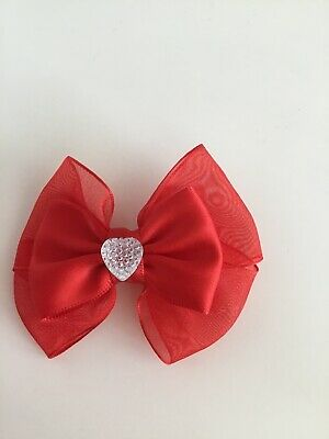 "Wedding Flower Girls School Small 3"" Girls Red Hair Bow Clip With Sparkly Heart"