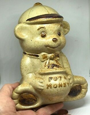 Vintage Treasure Craft Bank Bow Tie Smiling Bear Pot of Honey Sweet Collectible!
