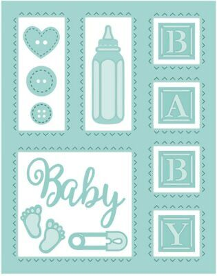 Infant Record Baby Items Things Stitched Metal Cutting Dies DIY