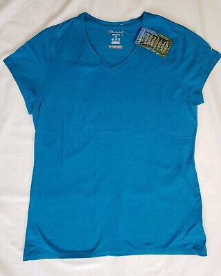 885771d46 Champion Insect Shield Womens Turquoise Heather Short Sleeve VNeck T-Shirt  SZ XL