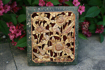 Antique Chinese Wooden Carved Flower Relief Wall Picture Panel