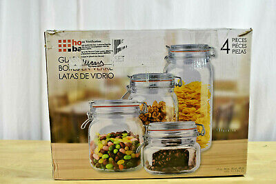 Home Basics 4 Piece Gl Canister Set Clear Candy Jar Cookie Sealing Lid