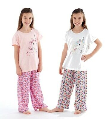 Girls Stunning Floral Sparkly Unicorn Print Long Pyjama/Loungewear Set Ages 5-12